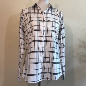 Black & White Plaid Long Sleeve Fitted Blouse